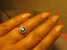 BAGUE EN ARGENT MASSIF RODIEE OR BLANC TAILLE 56