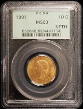 1897 Netherlands 10 Gulden Gold Coin PCGS MS63 OGH