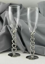 Silver plated champagne flutes heart stems