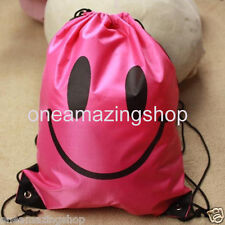 School PE Gym Bag Water Resistant Smiley Swimming Gymsac Drawstring Backpack