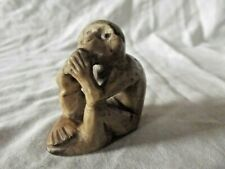 More details for antique carved hardstone monkey with cold hands netsuke