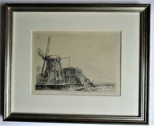 Original print after Rembrandt, 1641 etching, Little Stink Mill,  c1970, framed
