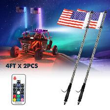 New listing 2pcs 4ft Spiral Rgb Led Whip Light for Utv Atv Accessories Spiral Antenna w/Flag