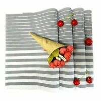 Set of 6 PVC Placemats Woven Dining Table Mats Washable Non-Slip Washable Gray