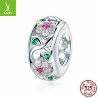 European Women 925 Sterling Silver Flowers CZ Crystal Charm Bead Pendant Jewelry