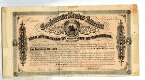 1864  $1000   Confederate Bond   B--323