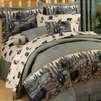 Blue Ridge Trading The Bears Queen Comforter Set w/sheets Plaid 8pc Black Bears
