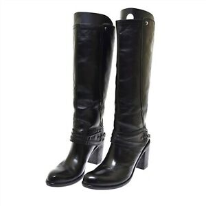 Vic Matie Black Leather Chain Detail Women's Tall Boots 40 US 10 NEW