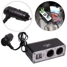 2 Way 12v Car Cigarette Lighter Power Socket Charger Adapter Dual USB Port UK