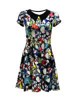 Gothic Multi Skulls Floral Butterflies Horn Abstract Collar Alternative Dress