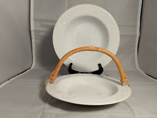"""Mikasa Classic Flair White 10"""" Round Vegetable Bowl and Bamboo Handled Bowl"""