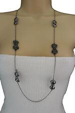 Women Long Necklace Gunmetal Pewter Metal Chains Bows Pendant Fashion Jewelry