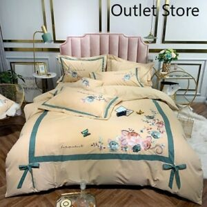 Luxury Chinese Butterfly Flowers Embroidery Egyptian Cotton Bedding Set 4pcs