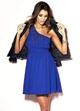 Little Mistress One Shoulder Beaded Chiffon Dress Cobalt Blue Size uk 12 BNWT