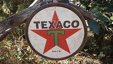 Texaco Gas Gasoline Motor Oil Round Tin Advertsing Garage Shop Wall Decor Sign