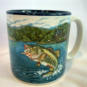 Leaping Big Mouth Bass Lake Blue Interior Fishing 1994 Colorful