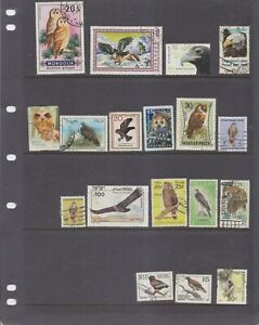 EAGLES/HAWKS/OWLS-18 X STAMPS-VARIOUS DATES/COUNTRIES-$6.50-local freepost