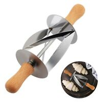 Stainless Steel Dough Croissant Rolling Pin Roller Cutter Slicer Baking Tool DIY