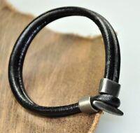 Cool Wrap Mens 4mm Leather Cords Surfer Bracelet Wristband Black