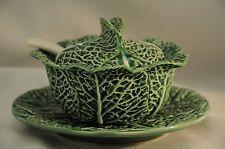 Green Cabbage Leaf Majolica Condiment w/ Spoon Costa Pereira Portugal