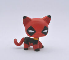 Littlest Pet Shop Custom OOAK LPS Cat DEADPOOL SUPER HERO Hand Painted Figure