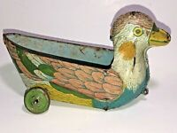 Vtg Antique Tin / Steel Litho Duck Bird on Wheels Car / Wagon Child Pull Toy ?