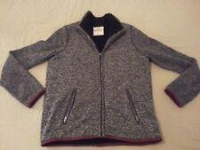 Mens Hollister Full Zip Jacket Coat L Large Gray Grey Cotton Heavy