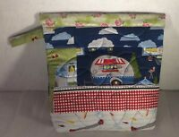 """Let's Go Glaming Quilted Snap Bag Quilted Saps Bag Fabric Camping Theme Size 11"""""""