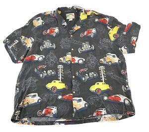 Vintage Paradise Found  Hawaiian Shirt Hotrods Cars Mens 3X Made in USA