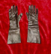 Ladies Real Leather Size Small Dark Brown Vintage Dents Long Gloves