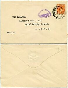NIGERIA WW2 CENSORED 1942 BARCLAYS BANK COLONIAL OVERSEAS EMBOSSED ENV 2 1/2d