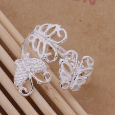 925 Silver Plated Hollow Cut Out Butterfly Adjustable Open Ring/Thumb Ring Gift