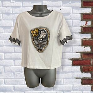 Womens White Cropped Bead Sequin Skull Halloween Size Small Short Sleeve TShirt