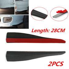 2X 28cm Black Rubber Car Front Bumper Lip Anti-collision Strip Carbon Fiber Look