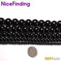 """Genuine Black Round Tourmaline Natural Stone Beads For Jewelry Making Strand 15"""""""