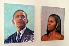 Pair Of Oil Portraits By Devon Rodriguez - Barack Obama Michelle - Bronx, NY
