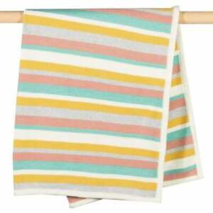 Kite Organic Cotton Happy Hare Pastel Striped Knitted Blanket