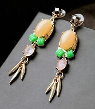 Orange Rhinestone Chandelier Gold Tone Metal Tassel Dangle Earring