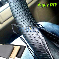 Black Leather Steering Wheel Cover Non-slip Pore Exquisite Comfortable Handle