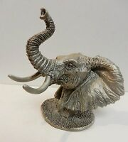 "B Austin Signed Elephant Pewter Bust Sculpture Animal Figure Vintage 4"" x 4.5"""