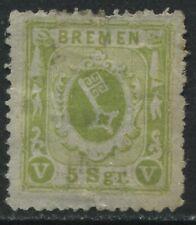 Bremen 1867 5 sgr yellow green unused no gum, minor thin