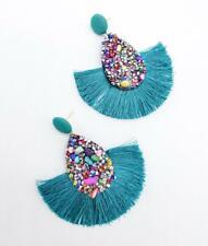 GORGEOUS Lightweight Multi Crystals Beads Teal Blue Threads Fan Tassel Earrings