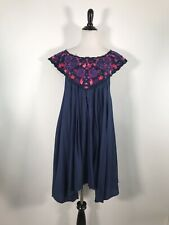 Free People Dress Swing Blue Embroidered Sleeveless Floral S