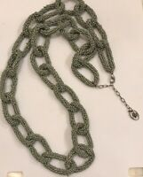 """Vtg Woman's Seed Bead Sage Green Lobster Clasp Lock And Loop Sz 36"""" Necklace"""