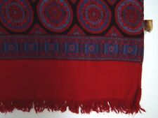 VINTAGE 1960'S TOOTAL SCARF REVERSIBLE GEOMETRIC RED WITH FRINGING TOOA280 #