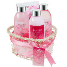 Rosarie ! Spa bath and body gift set displayed in wire heart shape basket,