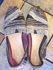 TOMS Canvas Flannel Plaid Tweed Ballet Flats Loafers UNIQUE Shoes Womens Size 10