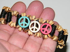 PEACE SIGN BRACELET! COCONUT SHELLS TURQUOISE LOOK! HOWLITE RED WHITE BLUE NEW!