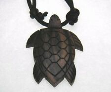 Wood Turtle Shape Pendant Adjustable Black Satin Cord Necklace / Choker # 20121