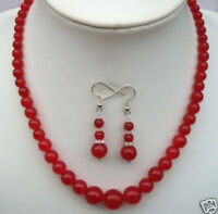 """6-14mm Natural Red Jade Round Beads Necklace 18"""" Earrings Set"""